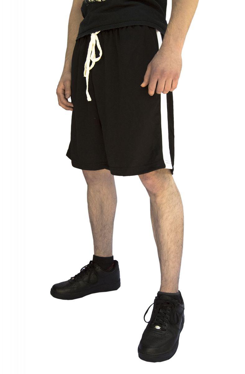 White Stripe Basketball Shorts in Black