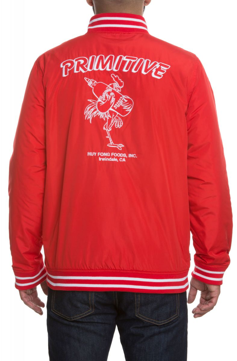eb985c2b4 The Primitive x Sriracha Huy Fong Sherpa Varsity Jacket in Red