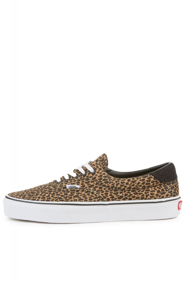 vans beige & brown era 59 mini leopard trainers