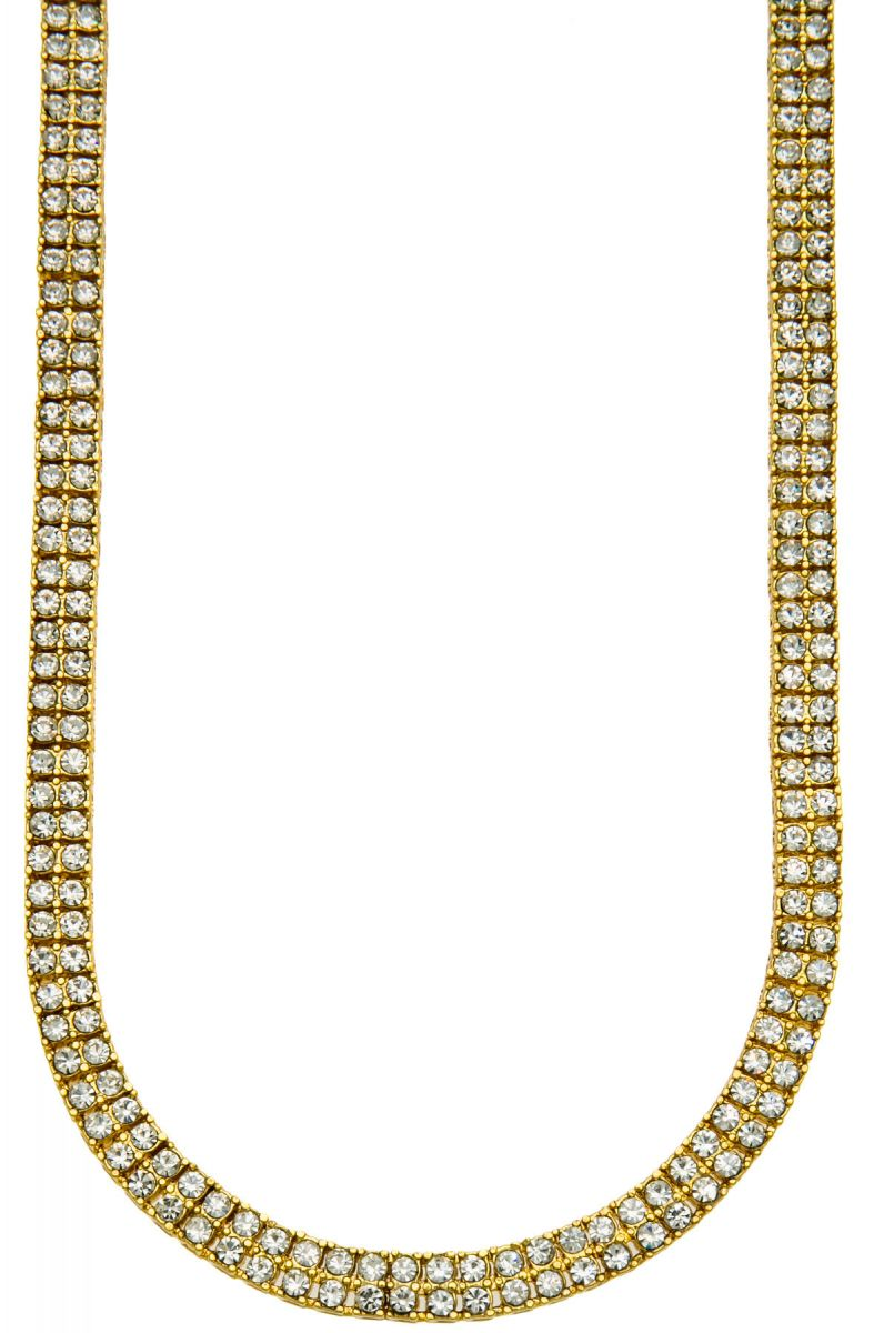 HHB Chain 2 Row Gold Iced Out Bling In Silver