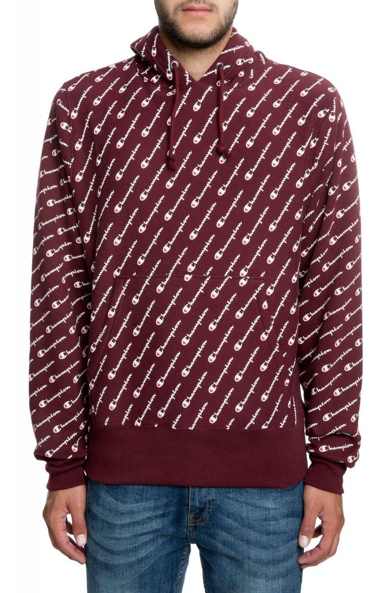 8f5317d8 Reverse Weave All Over Print Pullover Hoodie in Diagonal Script Maroon