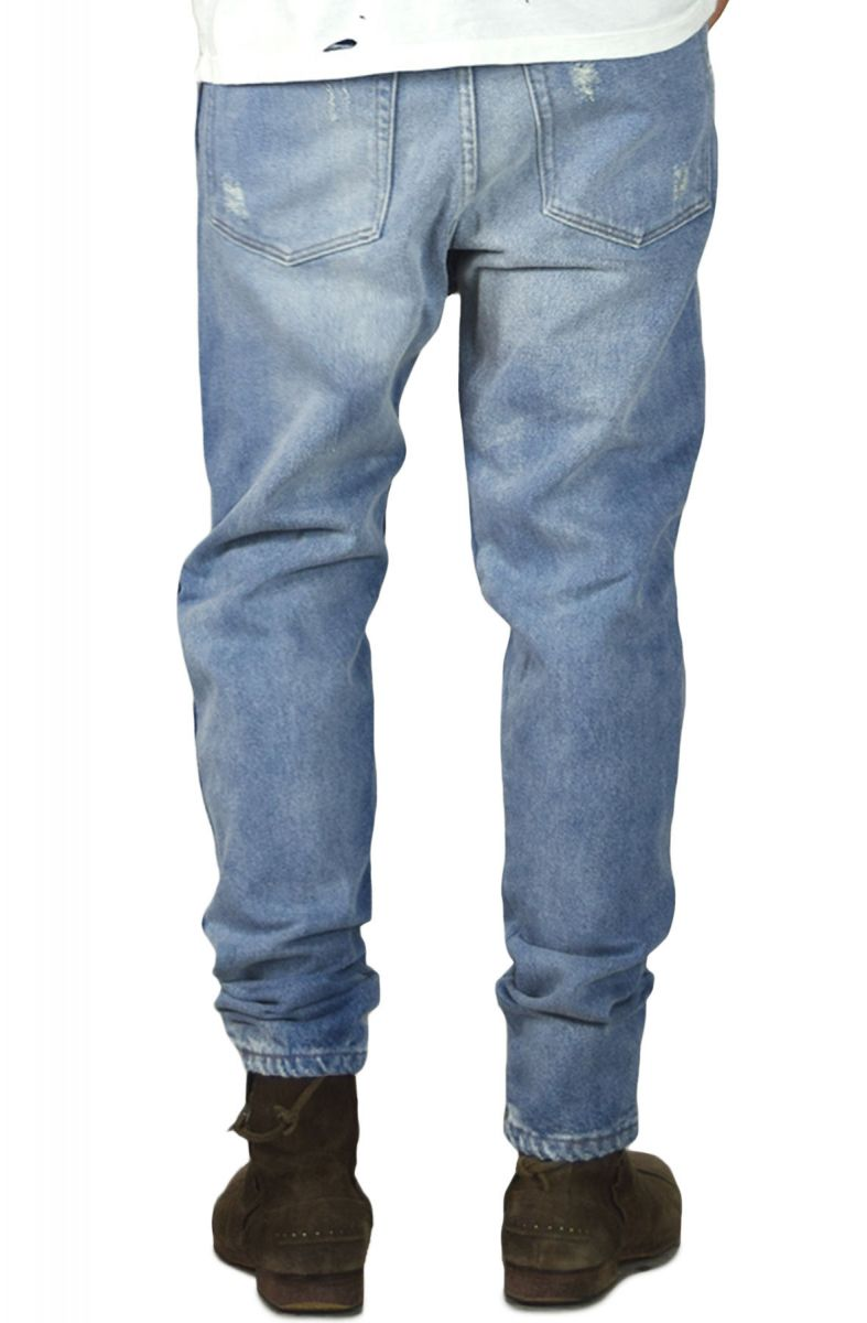 01783809 enslaved Denim Vintage Ripped Tapered Jeans Indigo Blue
