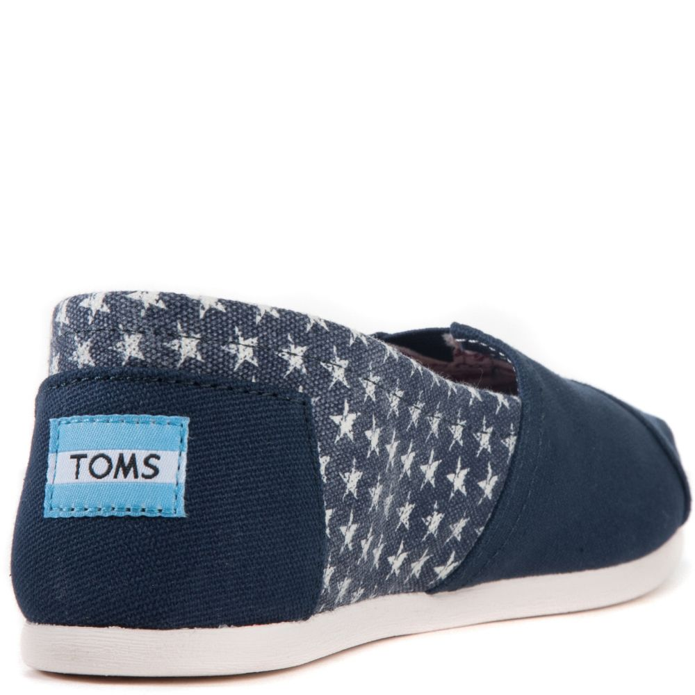9e32873a1 Toms for Women: Classic Americana Navy Canvas Stars Flats