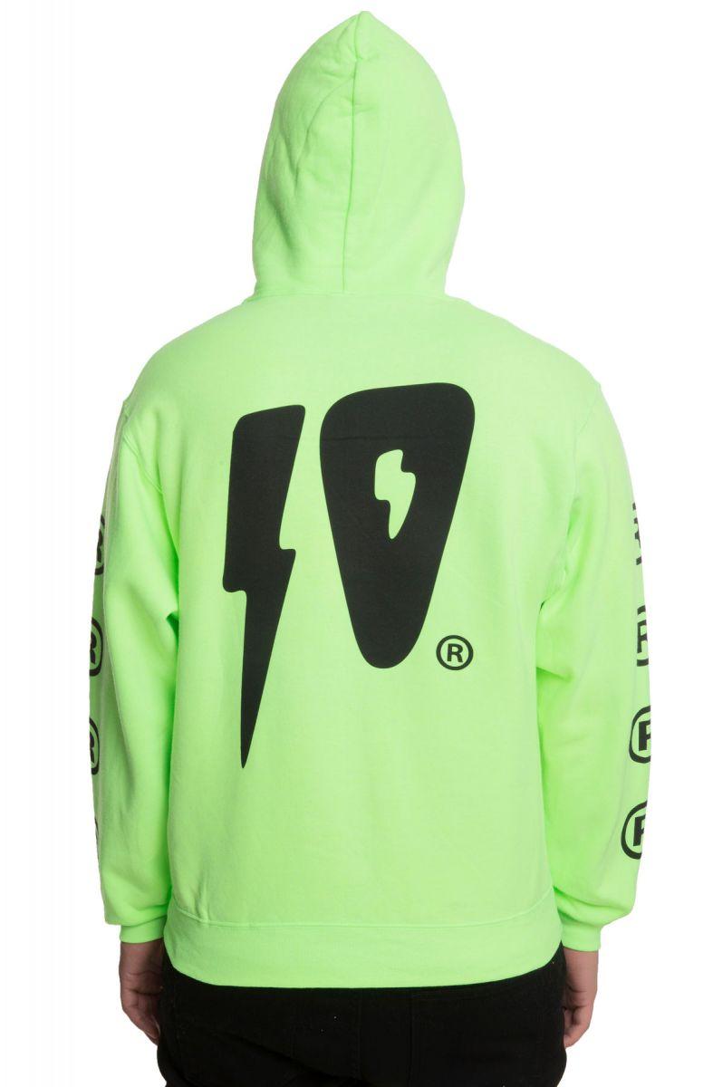 c611db35 The 10 Strikes Zip Hoodie in Neon Green