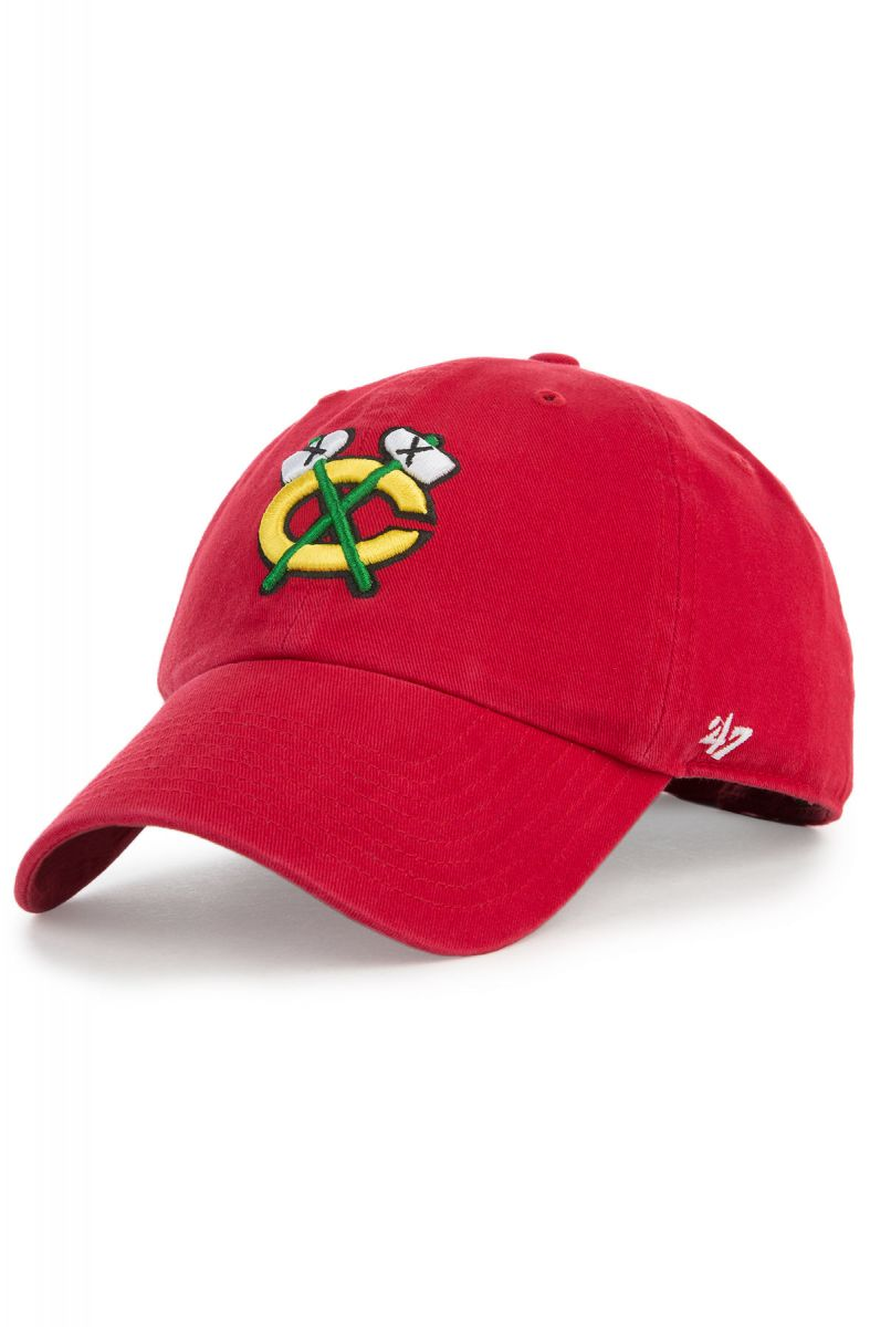 c74ff5eac3279 47 Brand Hat Chicago Blackhawks Clean Up Dad Red