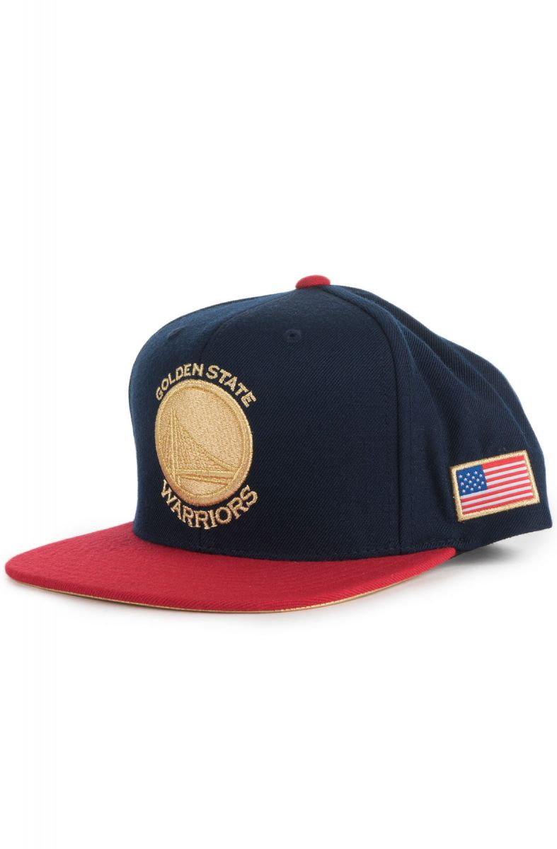b89f930ffc861b Mitchell & Ness Hat Golden State Warriors Snapback Blue & Red
