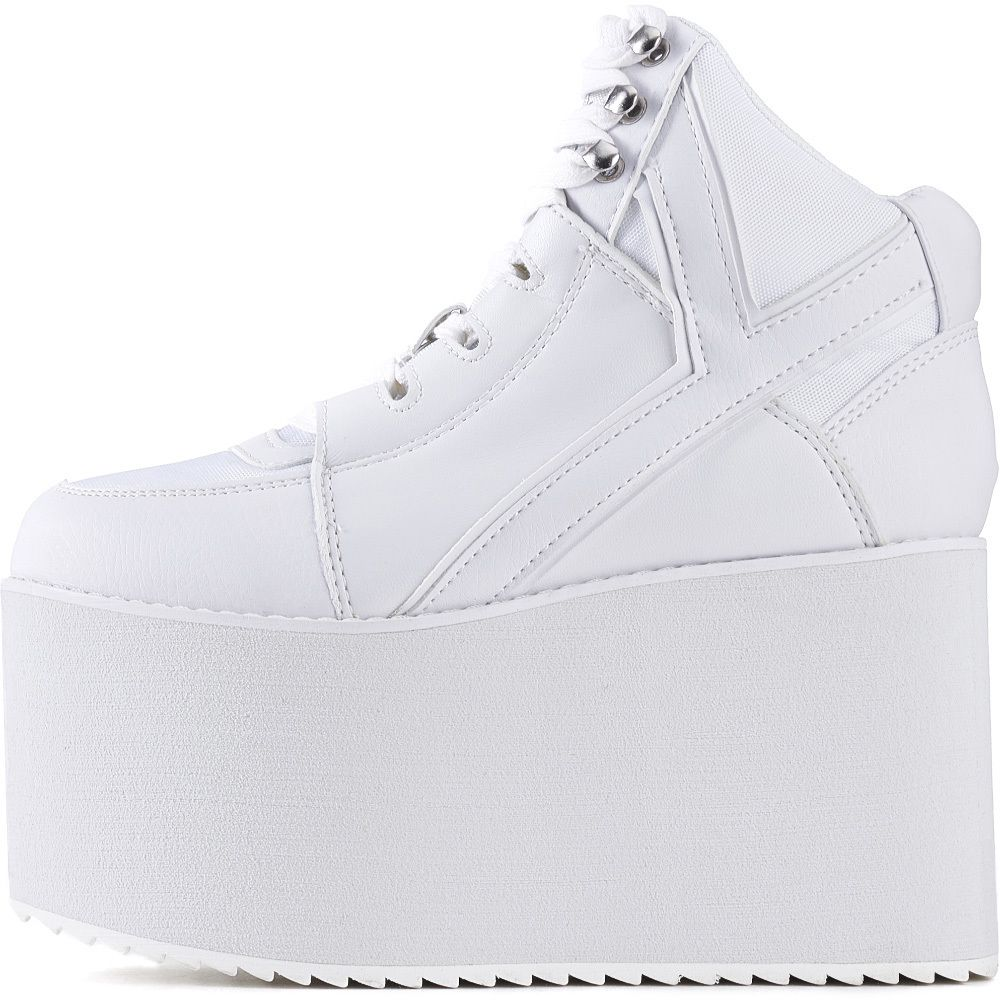 c9d984cde91547 Y.R.U. for Women  Qozmo Hi White Platform Sneakers