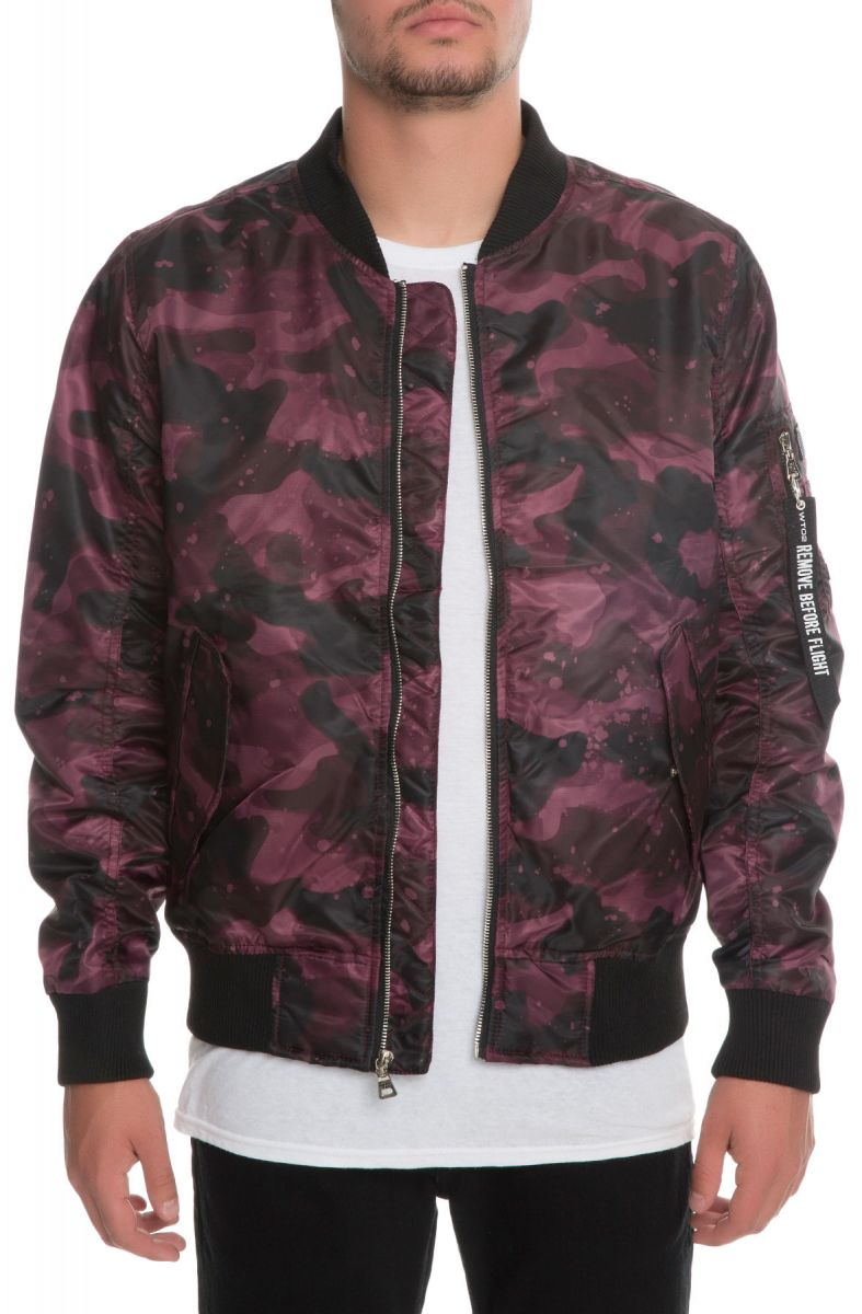 73bc783beae87 The Trade Collective Jacket Colonel Bomber Jacquard Burgundy Camo Purple