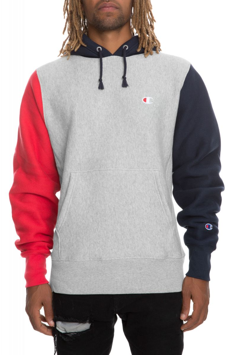 a04da68a5802 Champion Hoodie Reverse Weave Colorblock Pullover Oxford Grey Navy Team Red