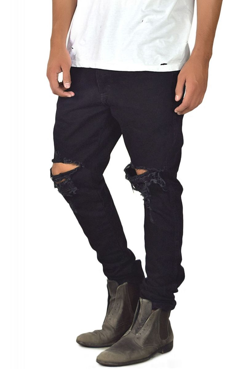 fc3c83f1446 enslaved Denim Ripped Custom Tapered Jeans Black