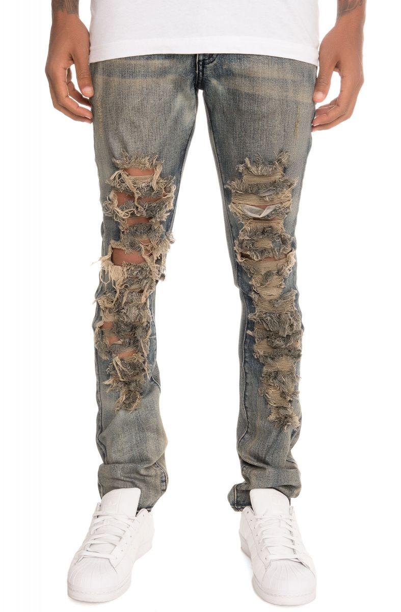 golden denim jeans tattered vintage distress blue