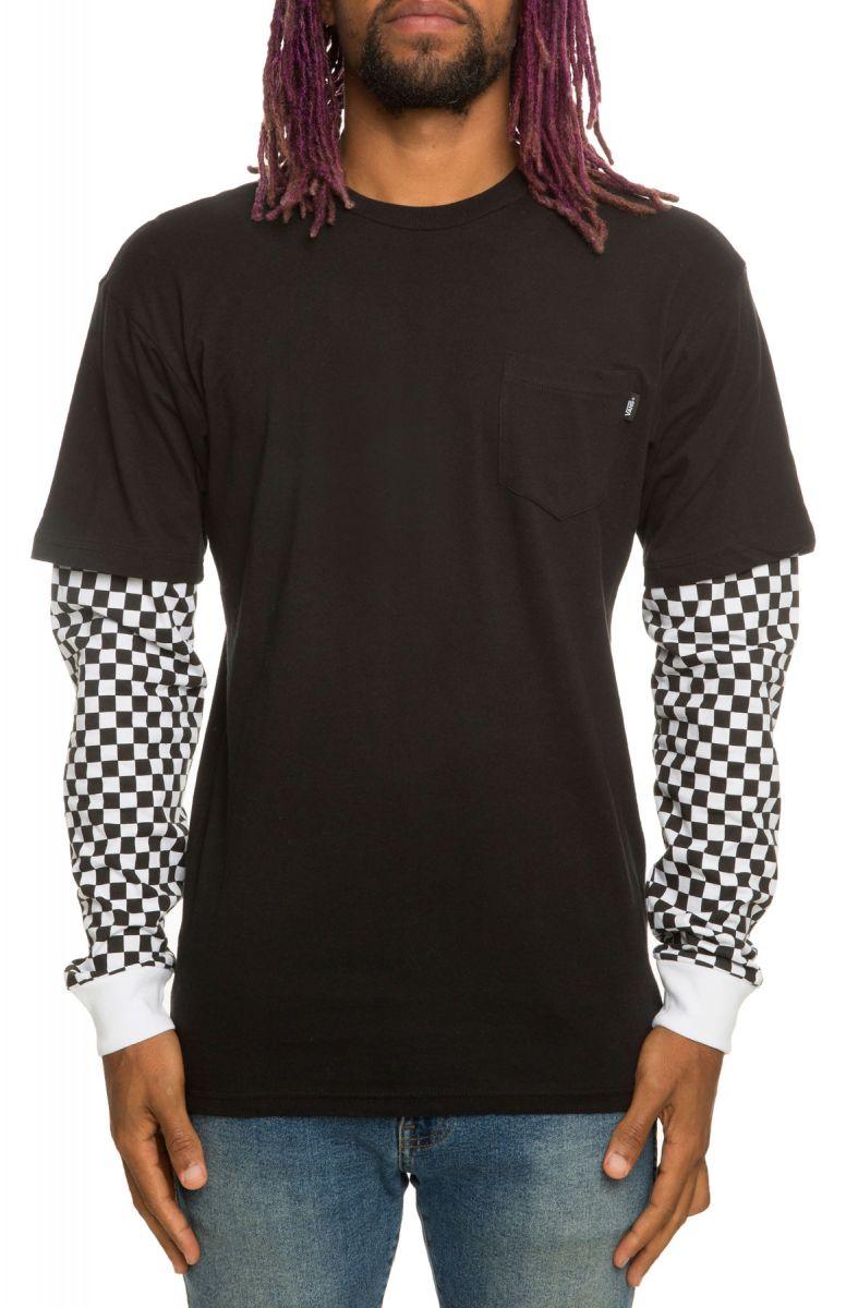 f6d837d3901a32 Checker Sleeve Two-fer Tee Black-Checker