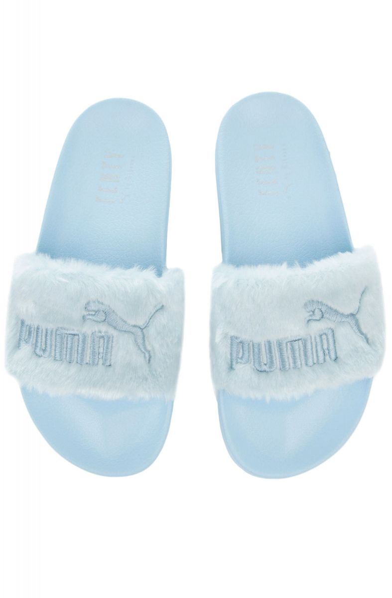 new arrival e6a04 3a84a The Puma x Fenty Fur Slides in Cool Blue and Puma Silver