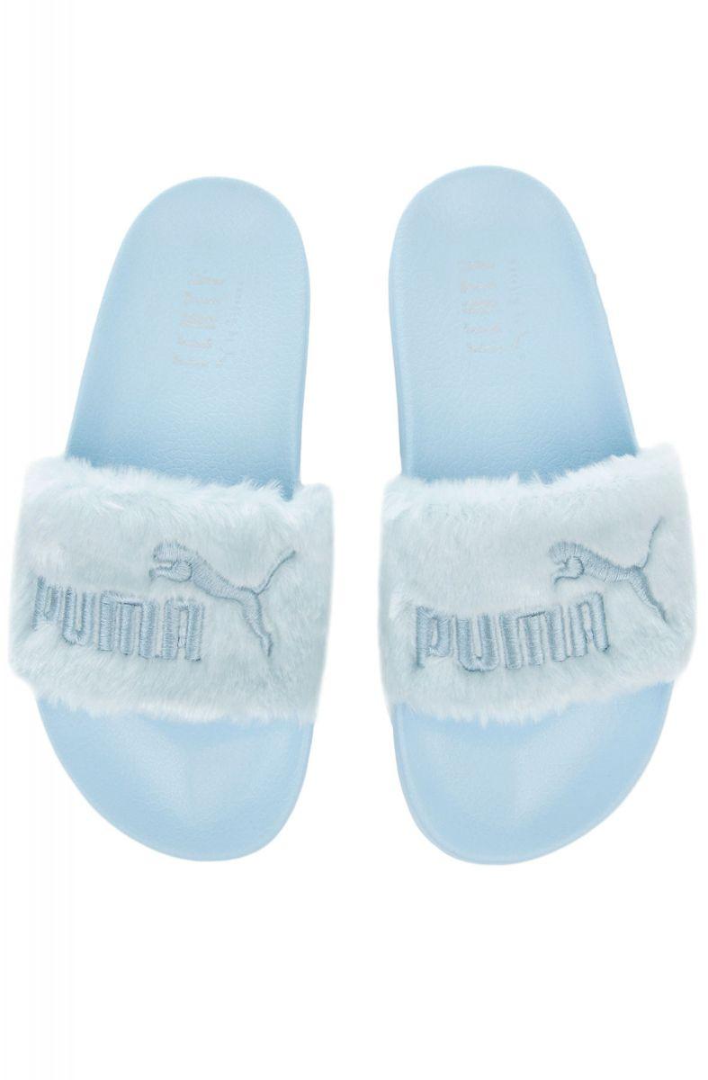 dd3275910ed3 Puma x Fenty Fur Slides Cool Blue Puma Silver