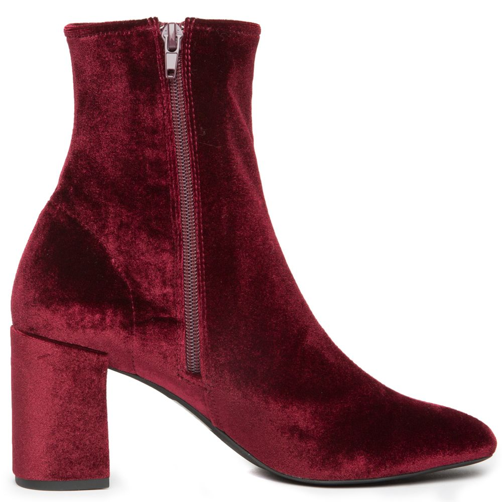 color brilliancy top-rated cheap get online Cienega-Lo Burgundy Velvet Heeled Booties