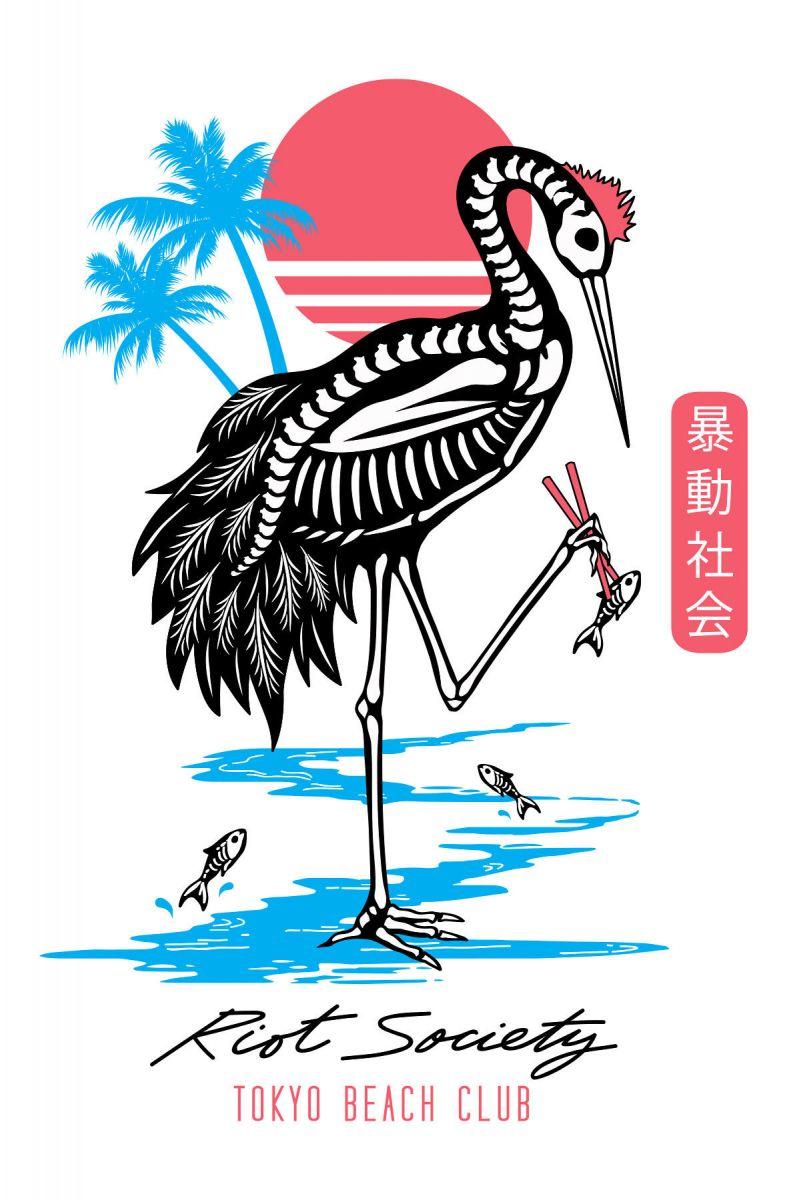 c1d1d8252c0f Riot Society Crane Skeleton Tokyo Mens Long Sleeve T-Shirt