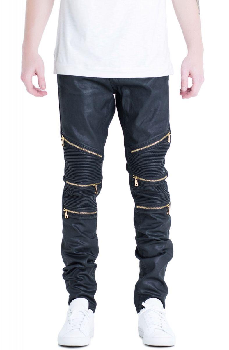 the bundy biker denim jeans in black