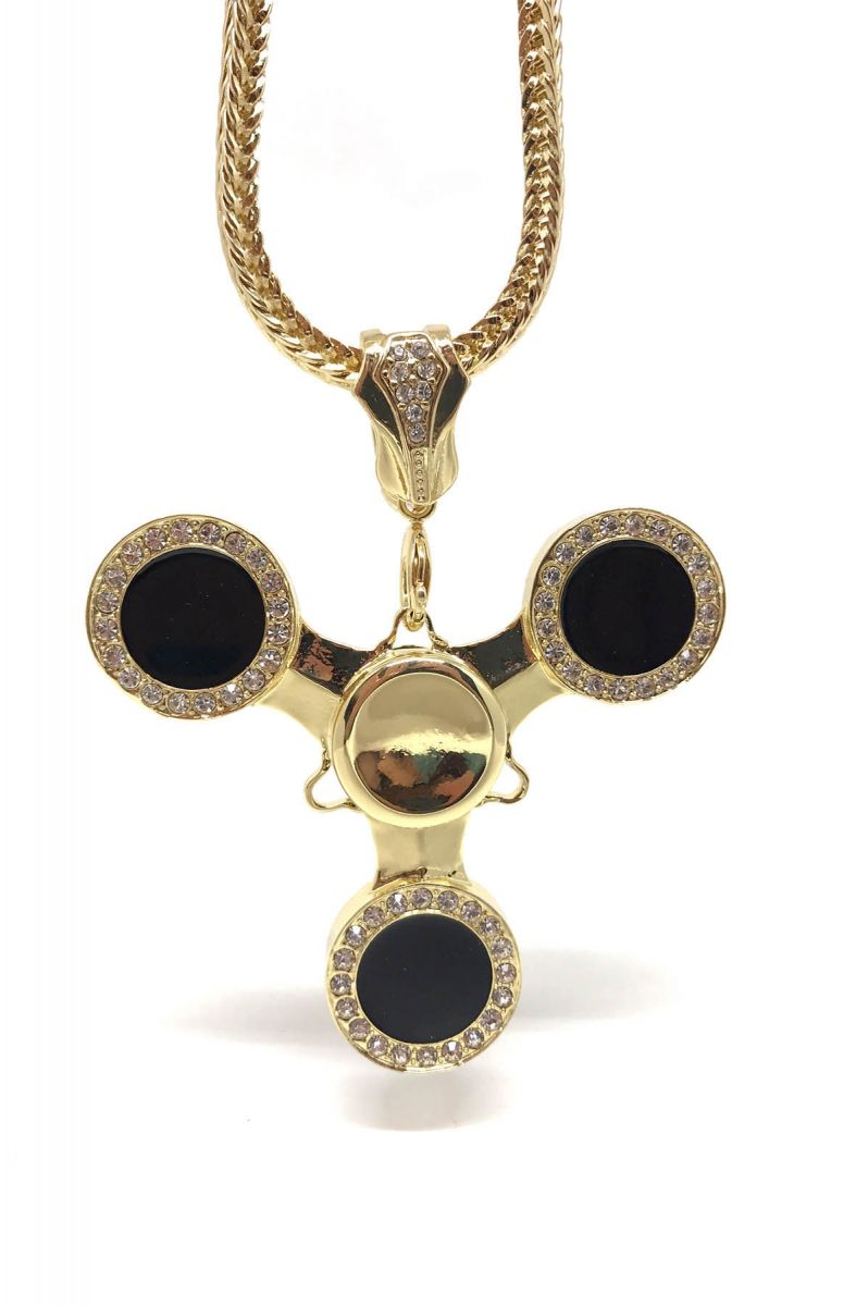 Gold Plated And Black Iced Out Fidget Spinner Necklace