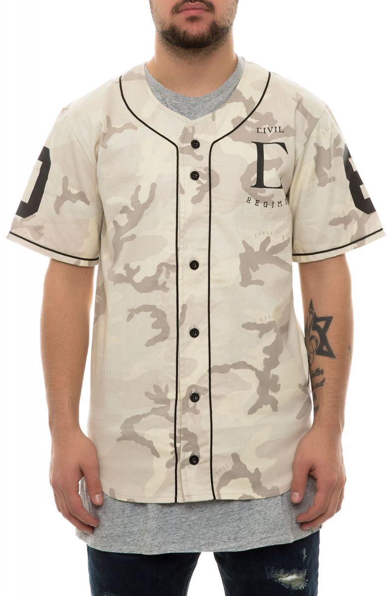 86090944b85 Civil Shirt Civil Regime Baseball Jersey Sand Camo