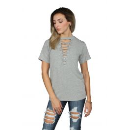 Laced Up Choker French Terry Tee by Seize&Amp;Desist