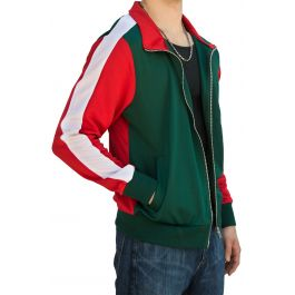 Green And Red Track Jacket With A White Stripe by E Street