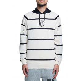 The Transit Ls Striped Pullover Hoodie In Burch And Black by Huf