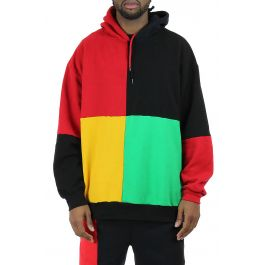 The Cross Colours Color Block Pullover Hoodie In Multi by Cross Colours