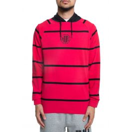 The Transit Ls Striped Pullover Hoodie In Scarlett by Huf