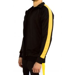 Yellow Stripe Track Jacket In Black by E Street