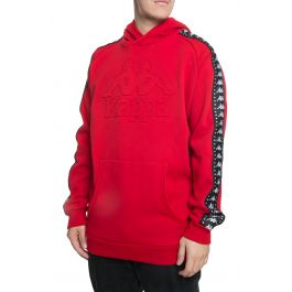 The Authentic Bzaleh Pullover Hoodie In Dark Red And Black by Kappa