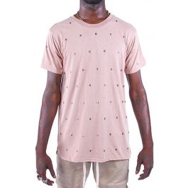 The Skull Studded Tee In Pink by Seize&Amp;Desist