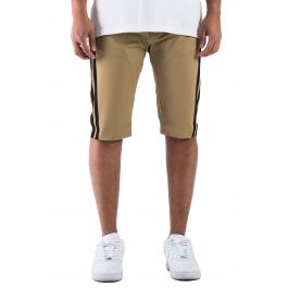 The Union V2 Trofeo Track Striped Shorts In Tan And B Lack by Golden Denim