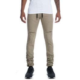 The Shuffler Stacked Leg Twill Pants In Tan by The Trade Collective