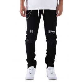 The Union Denma No Mercy Embro Denim In Black by Golden Denim