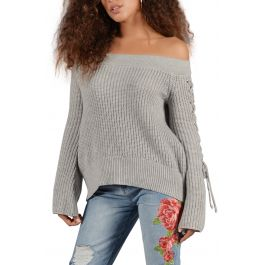 Off The Shoulder Knit Sweater With Lace Up Sleeves In Heather Grey by Seize&Amp;Desist