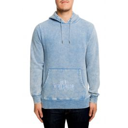 The Serif Stack Fw Pullover Hoodie In Forever Blue by Huf