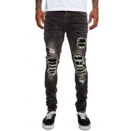 Skinny   Dark Grey Biker Denim W/ Pleated Leather Panel Insets by Nokwal