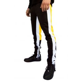 Signature Zipper Track Pants In Black And Yellow by E Street