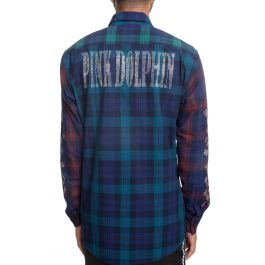 The Rhinestone Flannel Long Sleeve Button Up In Multi by Pink Dolphin
