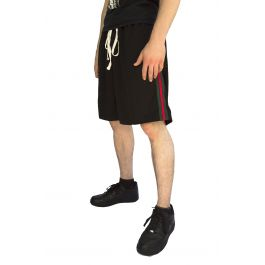 Red And Green Stripe Basketball Shorts In Black by Karmaloop