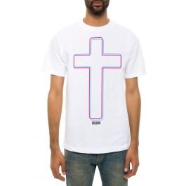 The Trbl Cross Tee In White by Trblmkrs