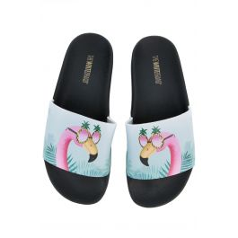 The Flamingo Slide In Black And Pink by Karmaloop