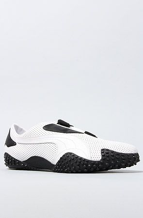 be33f1a93b4 The Mostro Perf Leather Sneaker in White   Black