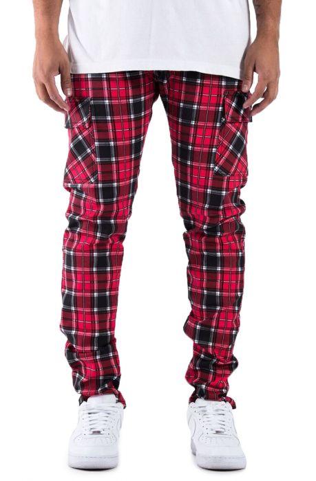 The Union Ramone Plaid Cargo Pants in LumberJack Red