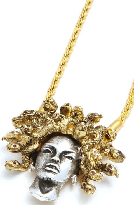 Han Cholo Necklace Medusa Pendant in Silver & Gold