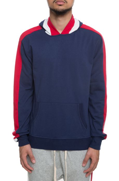 The Freeman Taped Hoodie in Navy and Red