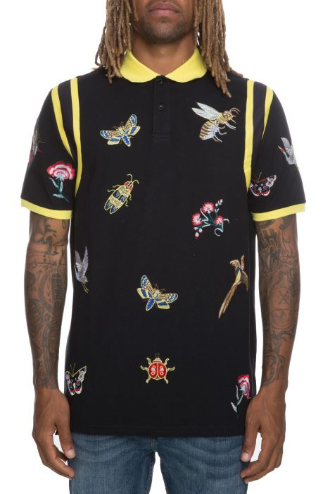 The Patchwork Shoulder Inset Polo in Black