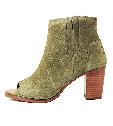 4dfe607ad26 Toms for Women  Majorca Peep Toe Bootie Tarmac Olive Suede Quilted