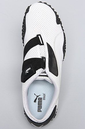 The Mostro Perf Leather Sneaker in White   Black 2d461dc82