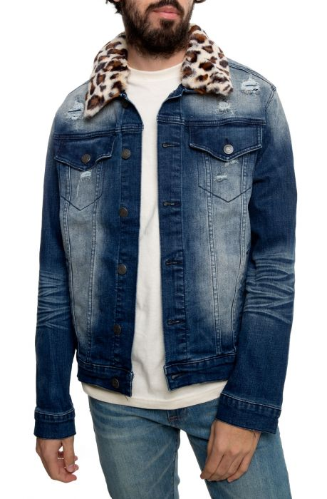 Cheetah Collar Denim Jacket